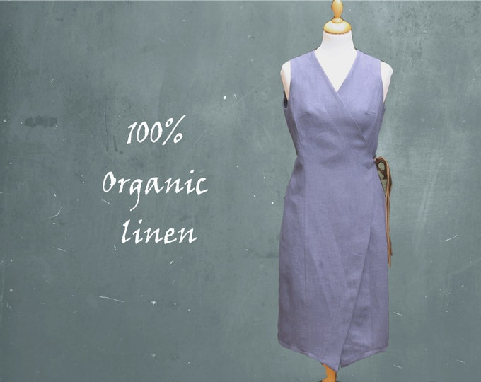organic linen wrap dress, linen dress, biological linen, recyclable, ready for recycling, fair trade, sustainable, fair fashion, GOTS