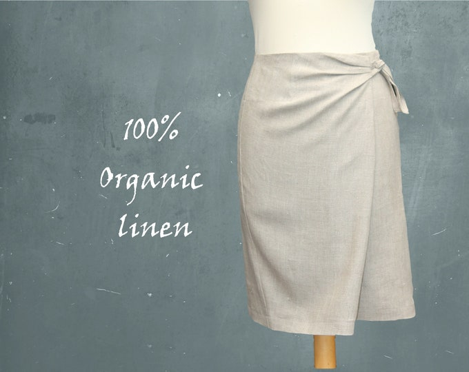 linen skirt, organic linen wrap skirt, wrap skirt biological linen, fair trade linen wrap skirt, recyclable skirt, fair trade, fair fashion