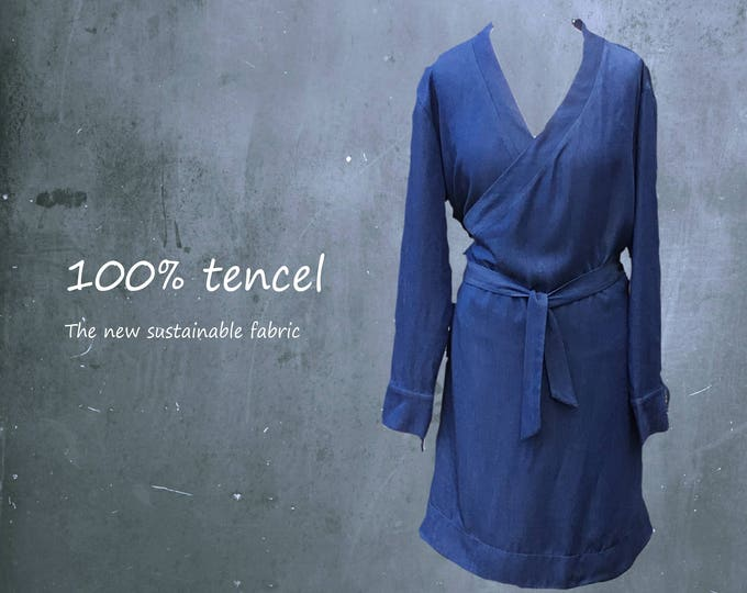 tencel wrap tunic dress, tencel tunic, tencel wrap dress