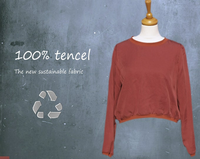 tencel cropped top, tencel sweater top