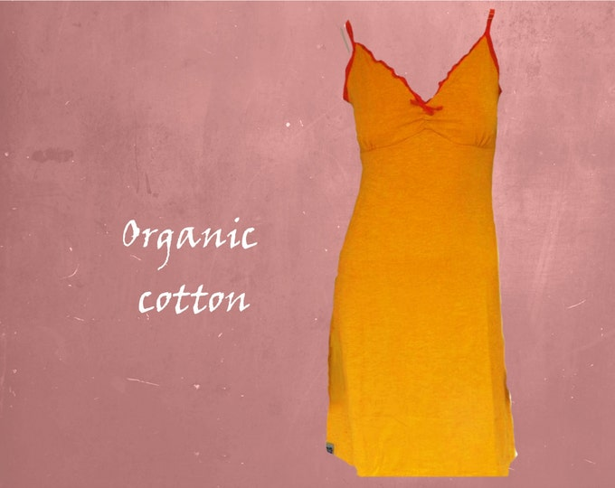 organic cotton slipdress, romantic dress biological GOTS certified cotton, fair trade clothing, sustainable clothing