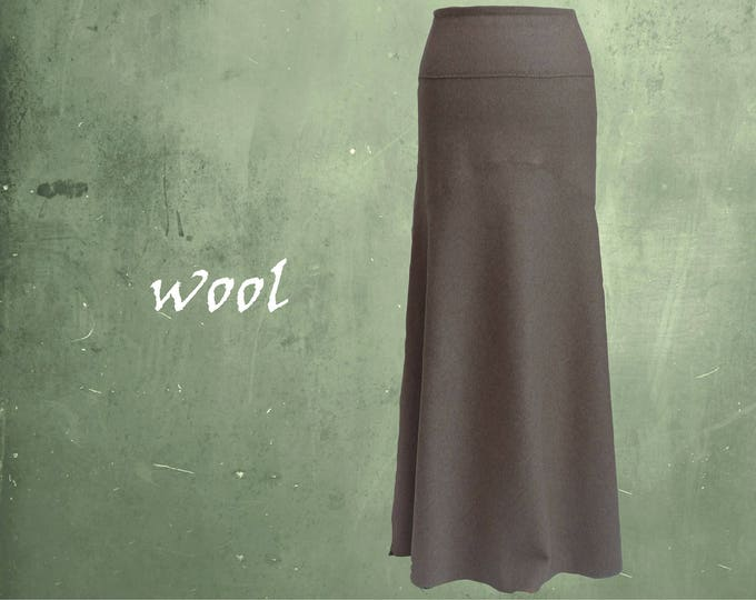 long wool skirt, long wool A-line skirt