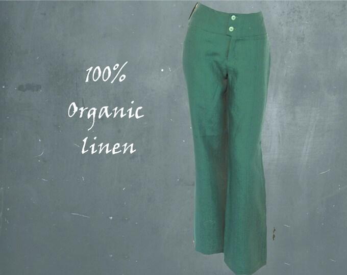 Organic linen pants, Wide linen pants biological linen, summer pants