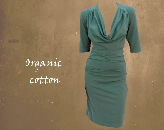 organic cotton dress drape neckline, tricot dress deep neck line, sustainable clothing, fair trade clothing