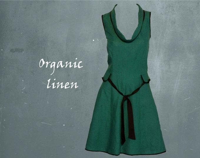 retro A-line dress, A-line dress organic linen, design dress GOTS certified biological linen