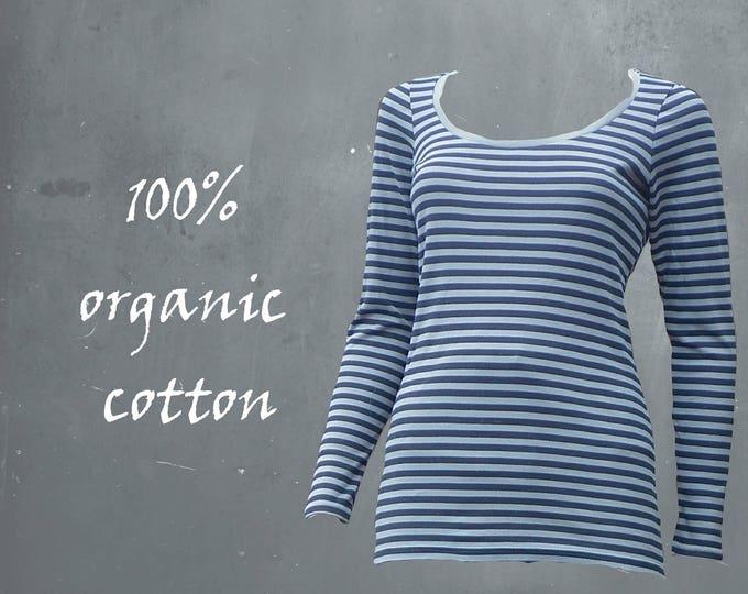 organic cotton basic shirt, T shirt biological cotton, GOTS certified cotton, striped shirt, Breton striped shirt