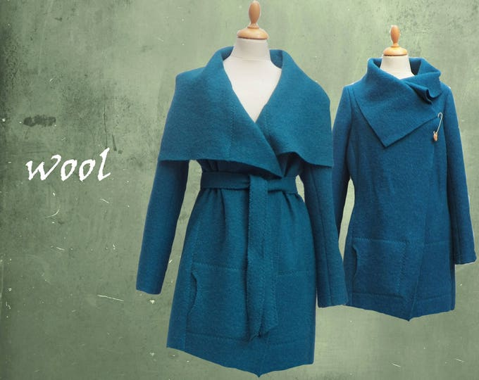 Woolen jacket, vest-jacket in boiled wool, recycable jacket
