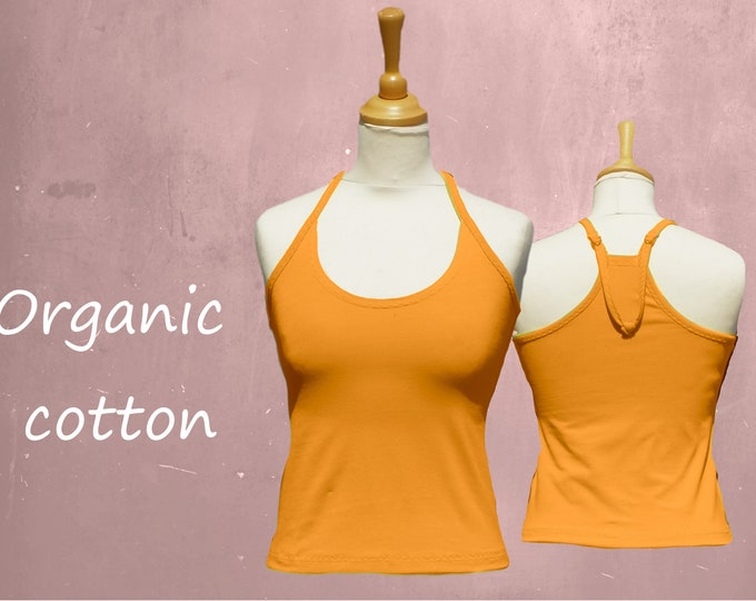 organic cotton camisole, singlet biological cotton, tank top with straps GOTS certified cotton