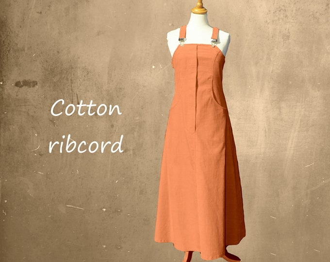 Corduroy pinafore dress, maxi corduroy pinafore dress