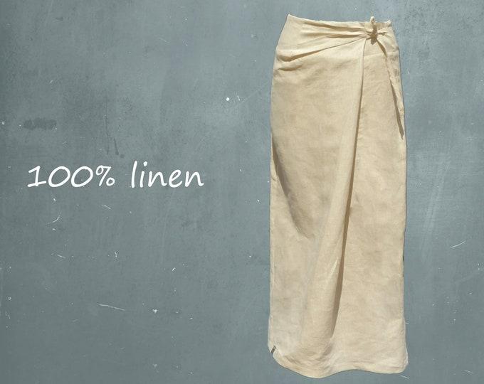 Comfortable linen maxi skirt, organic linen wrap skirt, fair trade linen wrap skirt, recyclable skirt, fair trade, fair fashion