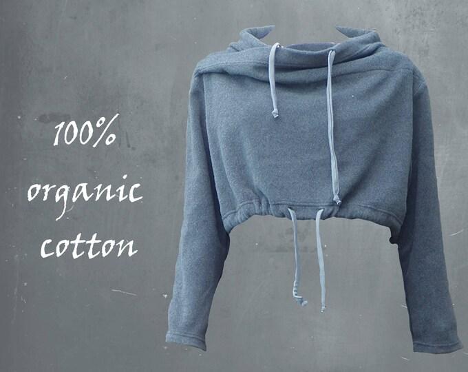 short organic cotton fleece sweater, fleece sweat shirt, sweater  GOTS certified organic fleece