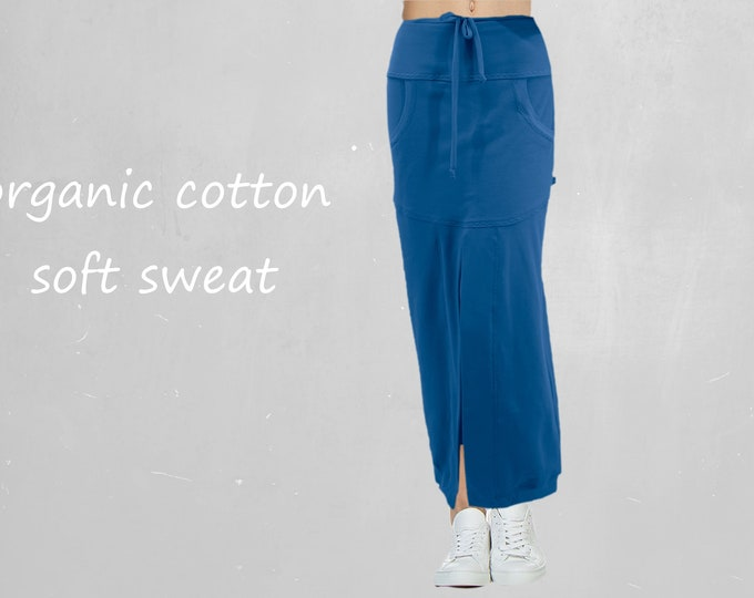 Sportive maxi skirt made of soft sweat organic cotton