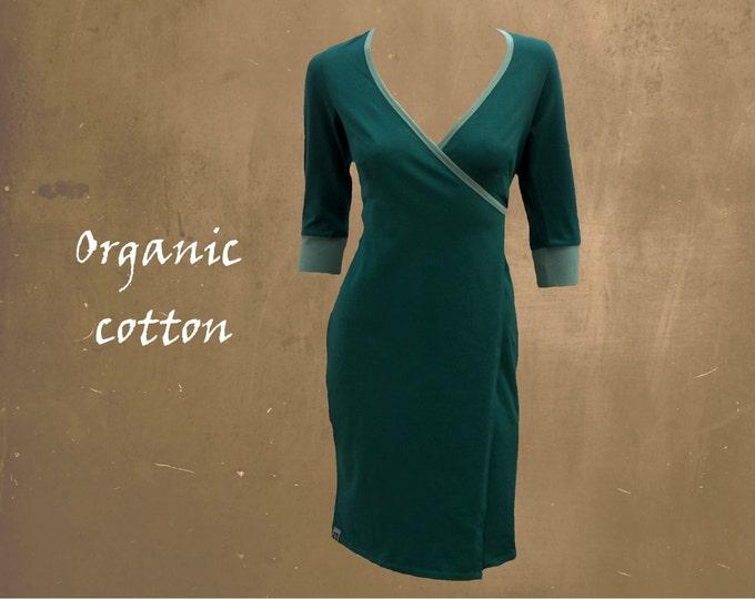 organic cotton wrap dress, wrap dress biological cotton, tricot wrap dress GOTS certified cotton