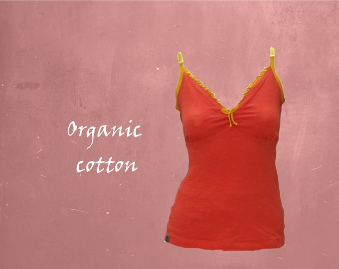 organic cotton top, romantic singlet biological cotton, tank top with straps GOTS certified cotton