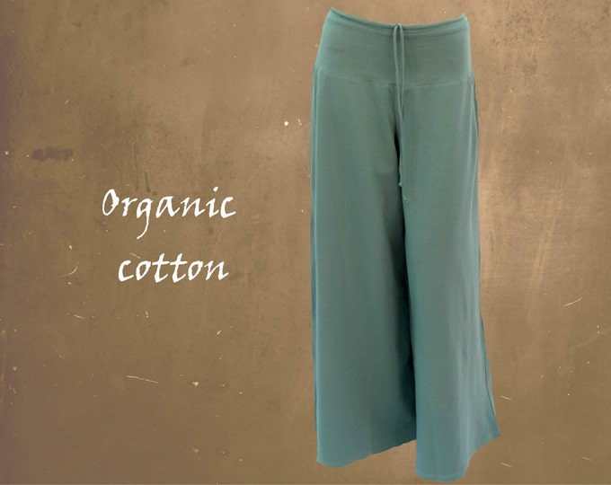 wide organic pants, wide jersey pants, pants organic cotton flared legs, yoga pants, sustainable fashion, fair trade, fair fashion