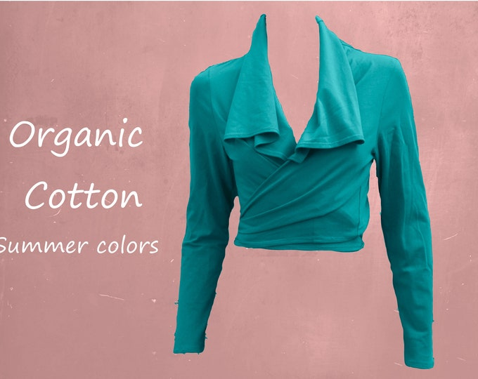 organic wrap cardigan in summer colors, knot cardigan GOTS certified biological cotton, tricot cotton wrap cardigan