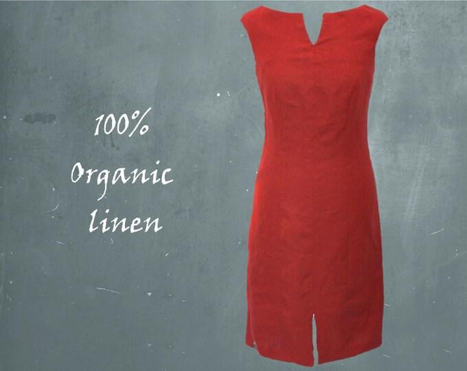 classic linen dress, organic linen dress, fitted linen dress, dress GOTS certified biological linen