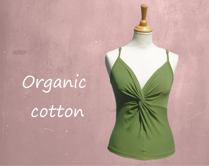 organic cotton top, singlet biological cotton, tank top with straps GOTS certified cotton