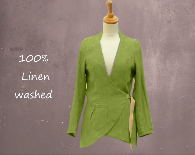 linen blazer  with asymmetric closure