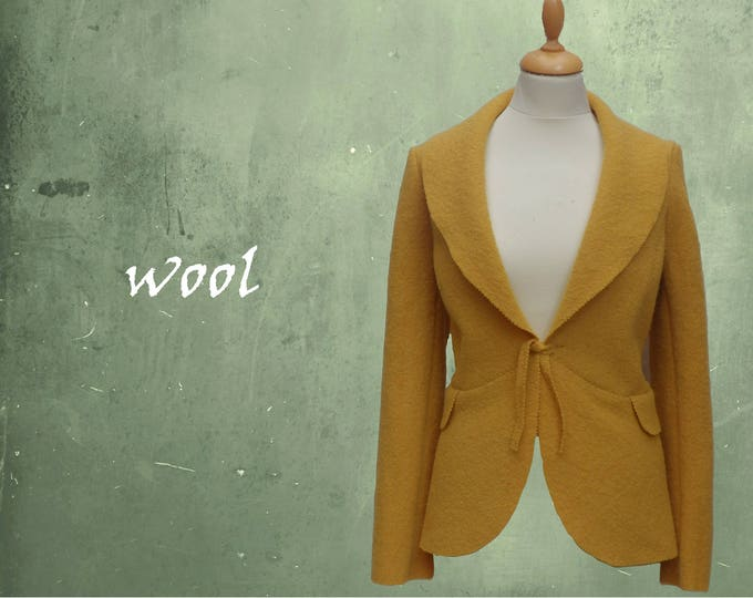 Jacket in boiled wool, wool cardigan-jacket