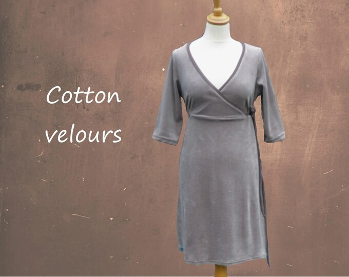 velours A-linedress with wrap V neckline