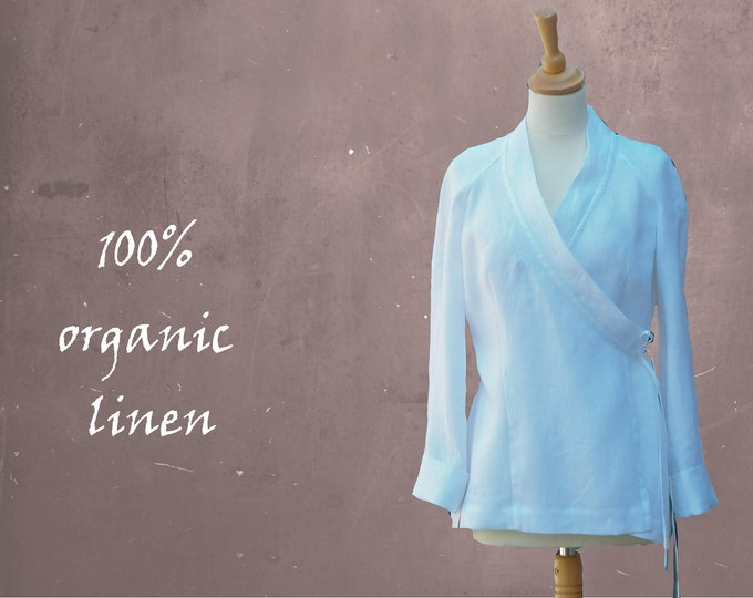 linen kimono, linen blouse in kimono design