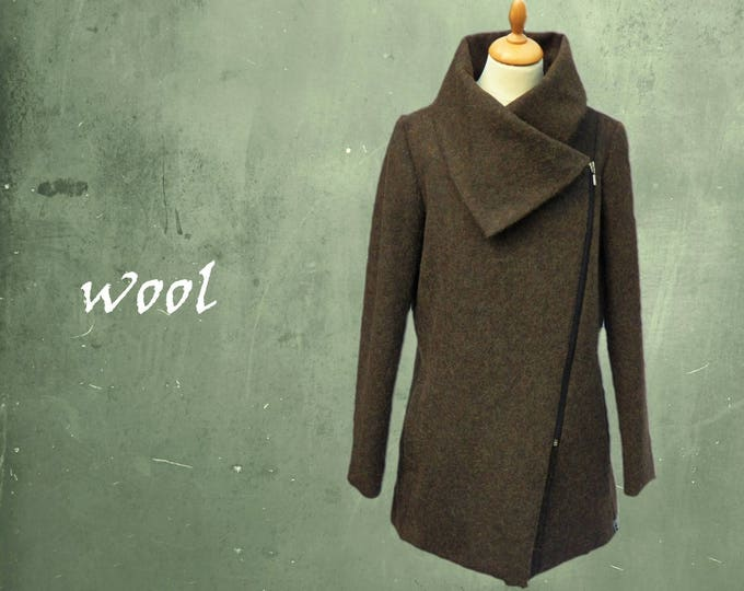 wool coat, wool zipper coat, wool winter coat, winter coat, high neck winter coat