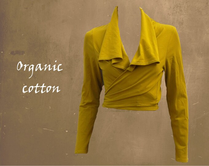 organic wrap cardigan, knot cardigan GOTS certified biological cotton, tricot cotton wrap cardigan