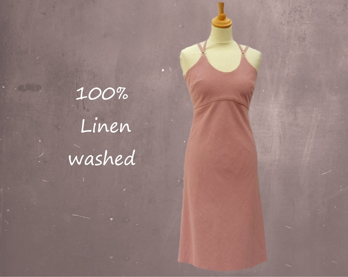 strapless linen summer dress, linen beach dress