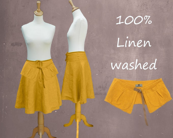 Billowing skirt made of washed linen with separate belt