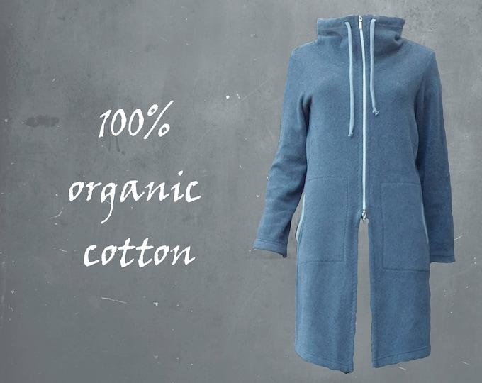 organic cotton fleece jogging jacket, long fleece jacket, jogging jacket  GOTS certified organic fleece