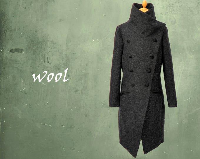 wool coat, long wool mantle
