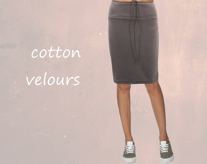 velvet skirt, velvet pencil skirt, velvet skirt eco cotton, skirt organic cotton