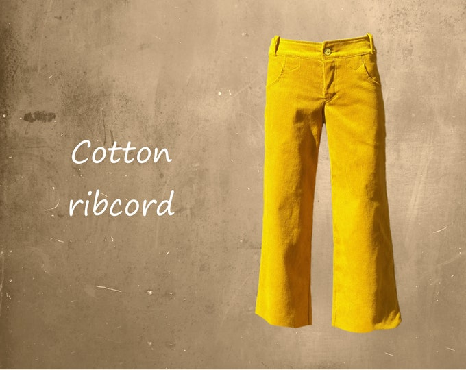 Culottes, Cropped heavy corduroy pants, Cropped cotton ribcord pants