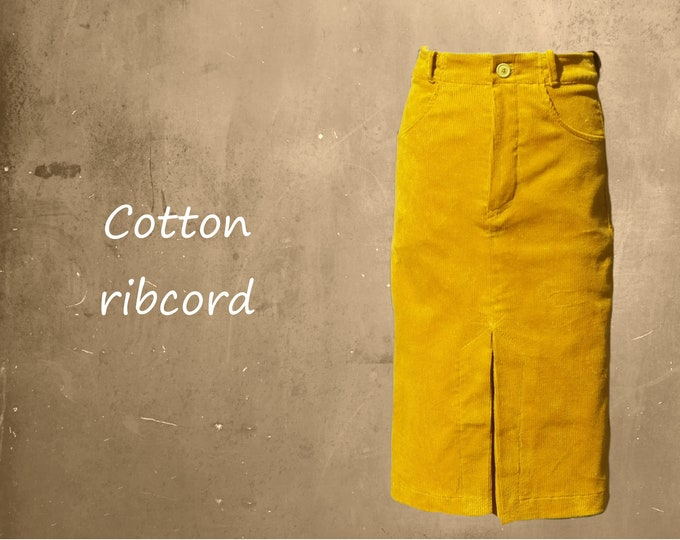 Midi heavy corduroy skirt, Cotton heavy ribcord midi skirt