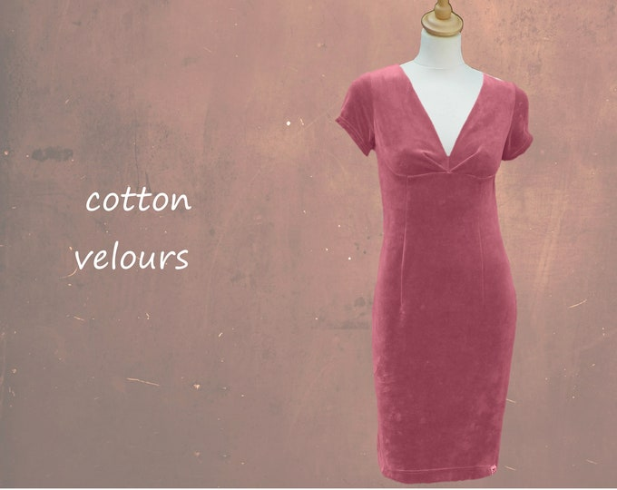 velours maxi pencil dress with pleated V neckline