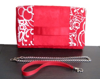 Red suede chain or strap clutch bag