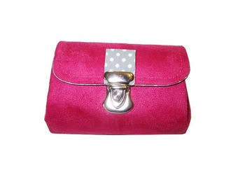 Bellows in suede and cotton polka dot purse