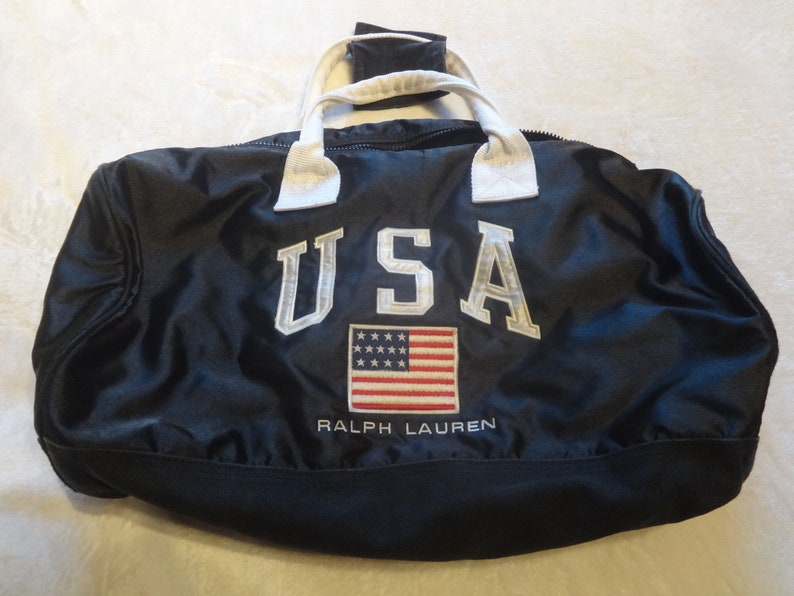 6aaaaf81464 Polo Sport Ralph Lauren satin 92 stadium Team Usa gym bag   Etsy