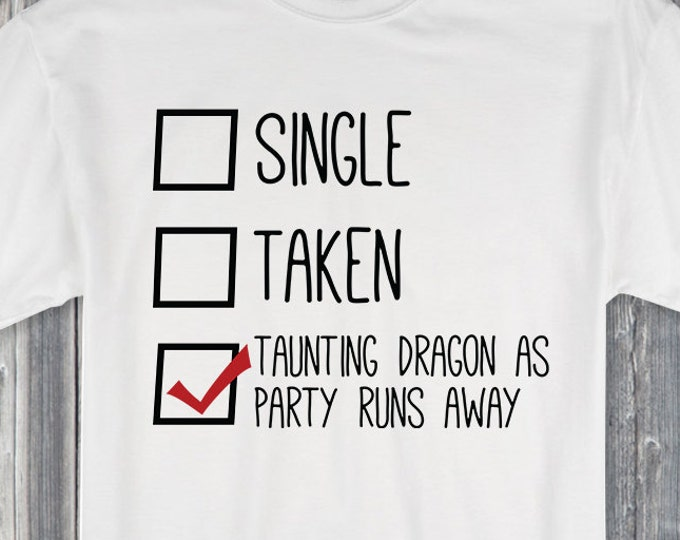 Single Taken Taunting Dragon as Party Runs Away 100% Soft Cotton Gamer Shirt