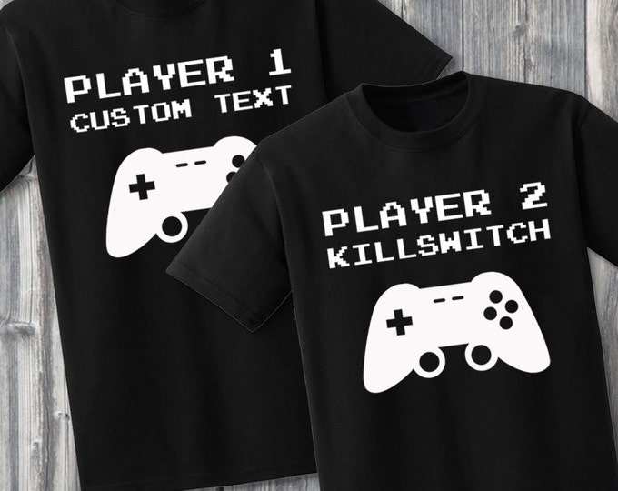 Custom Gamer Couples 100% Soft Cotton Matching Shirts
