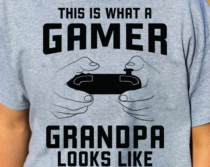 This Is What A Gamer Grandpa Looks Like 100% Soft Cotton Gaming Shirt