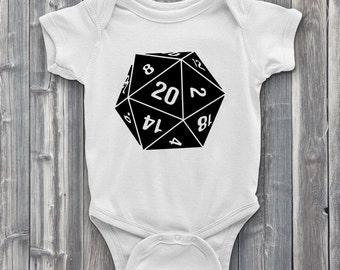 Nat 20 Baby ONESIE, Natural 20 Onesies, Dungeons and Dragons ONESIES, D20 Baby onesies, DnD Onesies, Role Playing Onesies, RPG Onesies, Dice