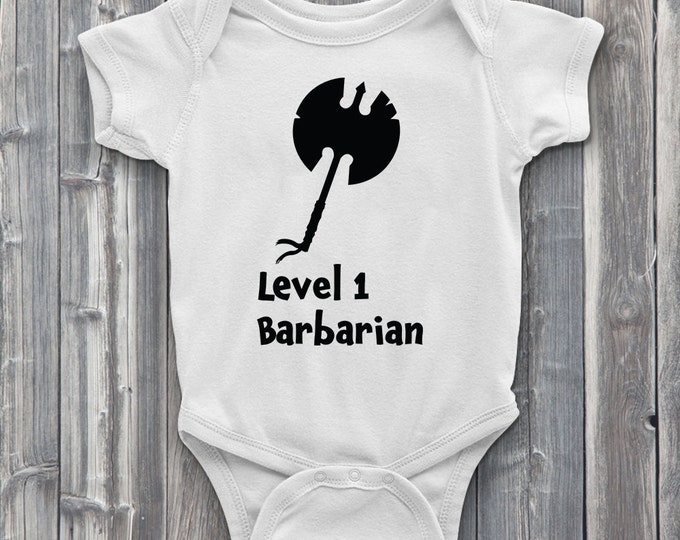 Level 1 Barbarian 100% Soft Cotton Gamer ONESIE