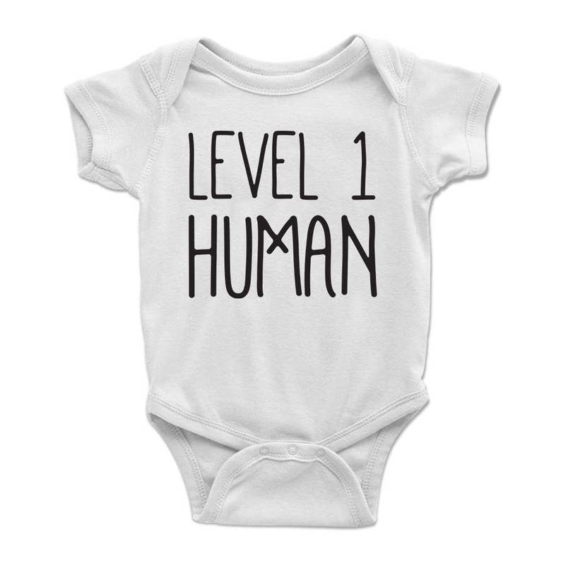 a204a4b1e Level 1 Human Baby Onesie Dungeons and Dragons DnD Onesies | Etsy