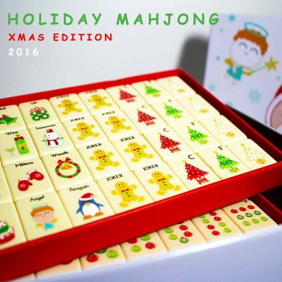 Mahjong Christmas.Holiday Mahjong Set Christmas Limited Edition