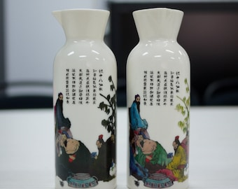 Hand made Sake bottle with color changing painting