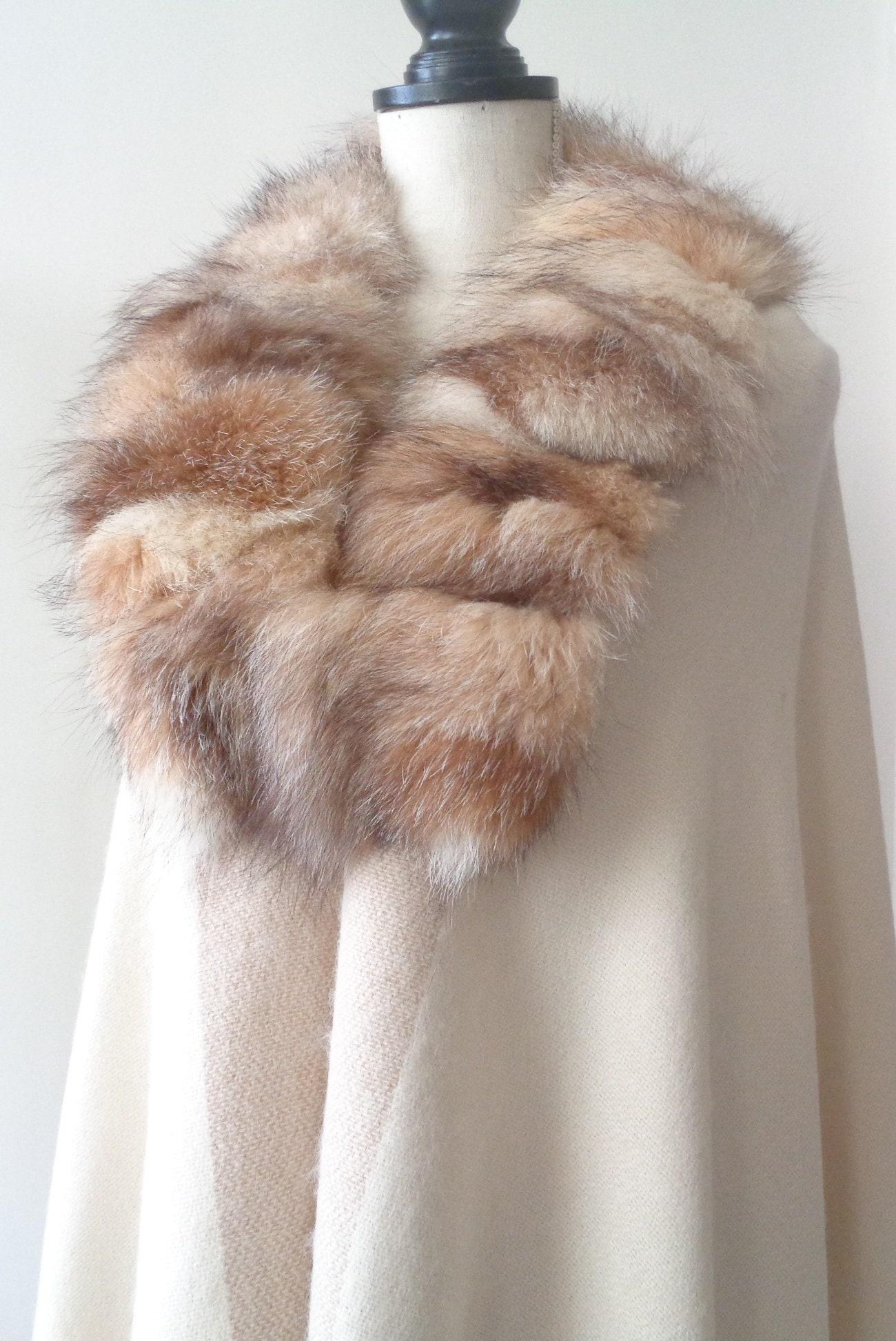 857b352339c Elegant Crystal Fox Fur Trim Ultra Long Light Beige Shawl Wrap