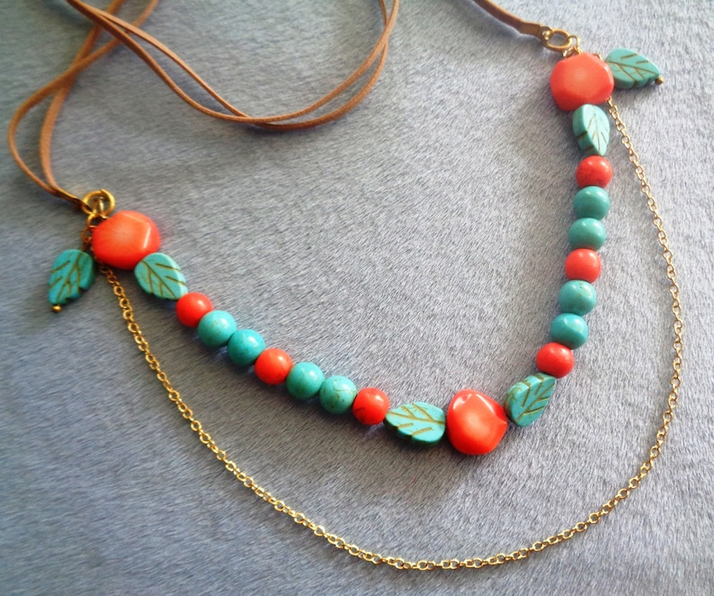 New Collection Coral Turquoise Gemstone Leaf 18 K Gold Chain Suede Cord  Boho Ladies Greek Jewelry Gift Necklace
