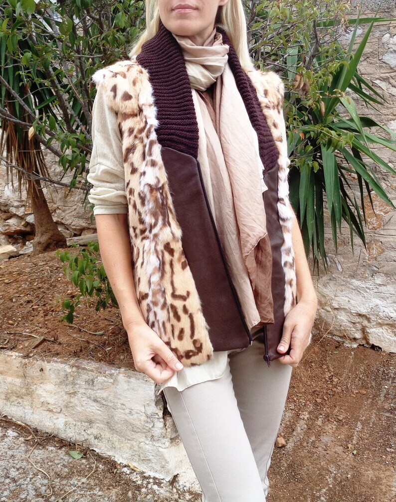 New Genuine Rabbit Fur Leopard Print Leather Knit Collar Brown  Casual Vest Jacket